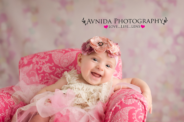 Smiling for the photographer for baby photography princeton nj