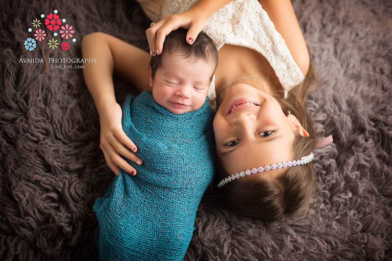 Johns picture with sister by warren newborn photographer new jersey