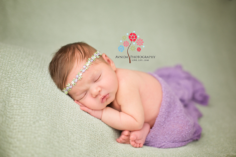 Newborn photography morristown nj cute green and purple combination