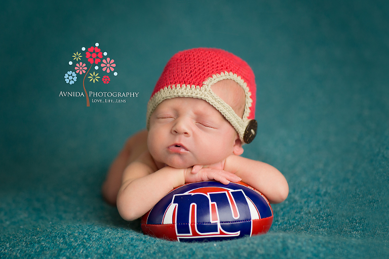 Newborn photography bedminster township nj with the giants football