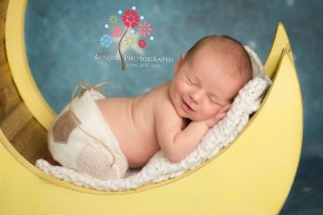 Basking Ridge Bernards NJ newborn photographer, baby sleeping on the moon