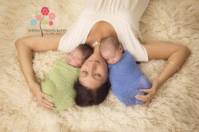Twins Newborn Photography Gillette NJ - lying next to mommy