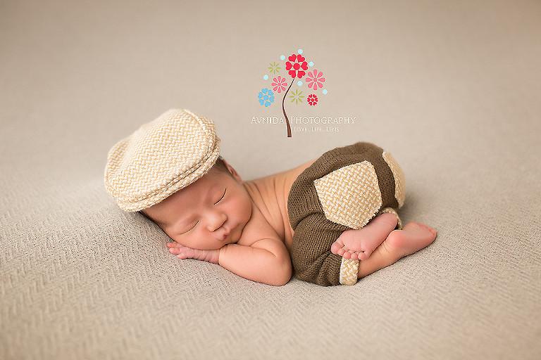 Newborn photography west orange nj in the brown cap