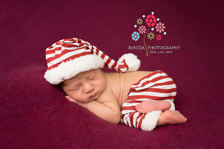 Newborn photography west orange nj in the candy cane cap