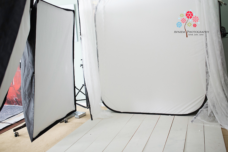 Another view of studio setup for high-key lighting tutorial by Avnida Photography, finest studio for Newborn Photography NJ.