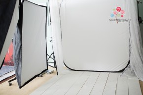 Another view of studio setup for high-key lighting tutorial by Avnida Photography.