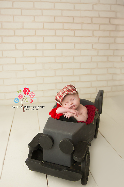 Newborn Photography Berkeley Heights NJ - This car doesn't use any gas - caring about the environment you see