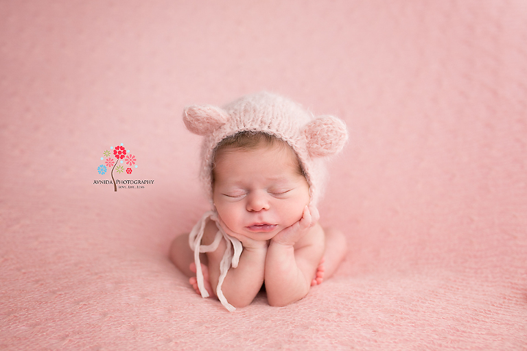Jersey city nj newborn photographer cute bunny ears complement this beautiful girl so well