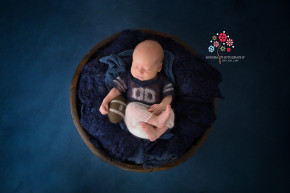 Newborn Photography Hillsborough NJ - When your dad is a NY Giants fan you better learn how to carry a football on you at all times and know how to throw it