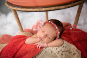 Newborn Photographer Saddle River NJ - Sleeping on cloud nine in her hot air balloon, Baby Anisa takes a little break from her hectic schedule