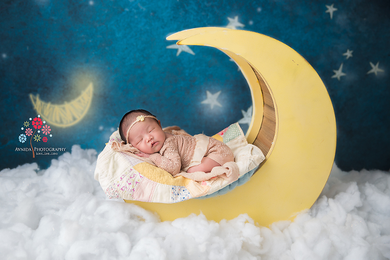 Newborn Photography Lawrenceville NJ - Fly me to the moon, let me play among the stars - It may have been sung by Sinatra but embodied perfectly by Baby Cayla