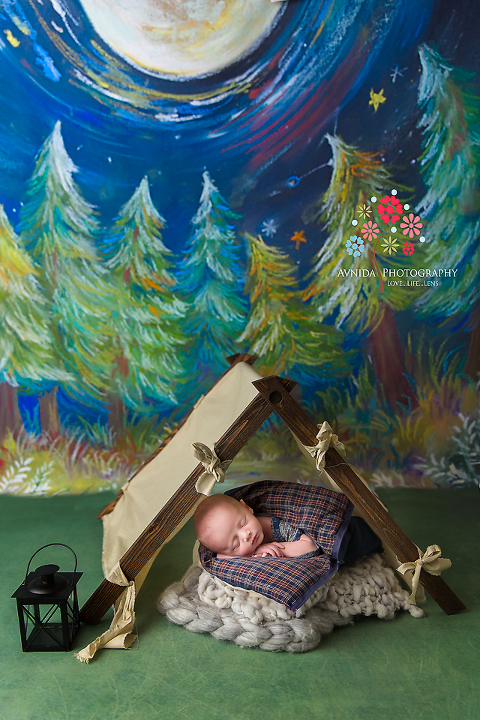 Basking Ridge Newborn Photography NJ - Under the cool light of the moon and the shining night sky, sleeps a little princess in a tent with a little lamp by his side