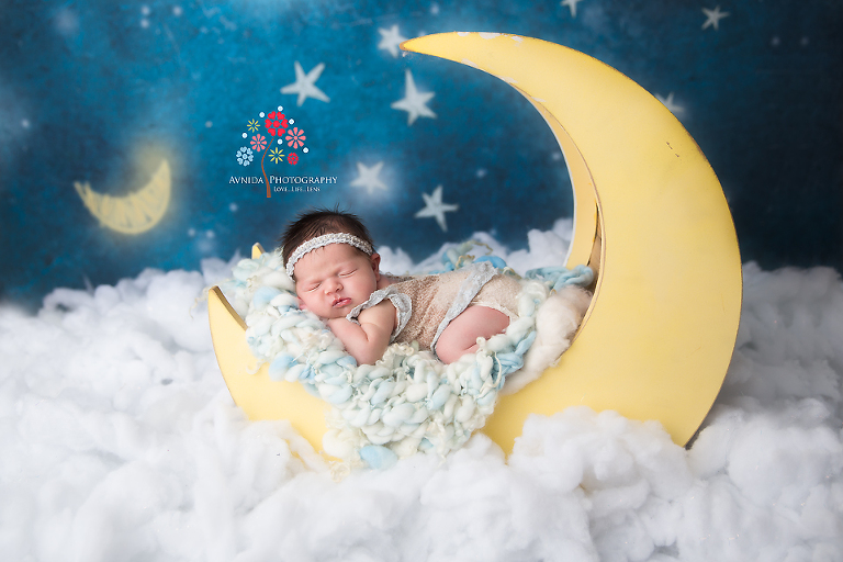Newborn Photography Spring Lake NJ - This is what we call a dreamy newborn photograph - the moon, the shiny stars and