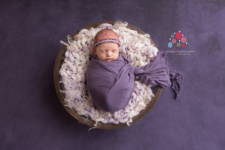 Newborn Photography Rumson NJ - Floating in the lavender sea on a wooden bowl and a lavender blanket, this is one of my favorite photos (there are many) from the session
