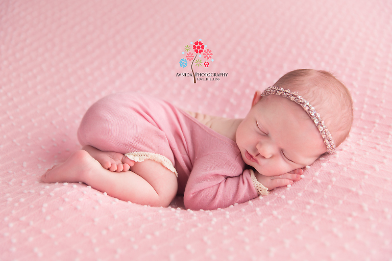 Newborn Photography Rumson NJ - Pink blanket, pink dress and pink headband, what else can we dress a baby girl in