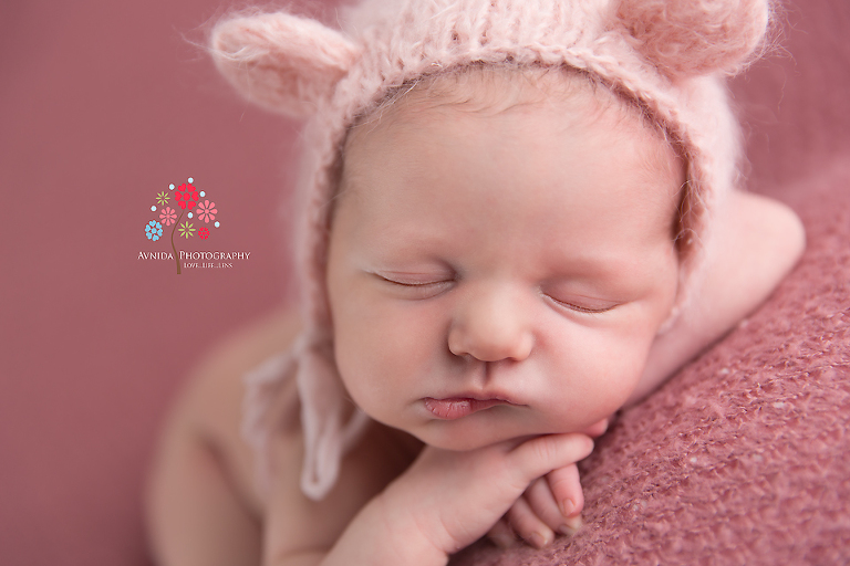 Newborn Photography Rumson NJ - Teddy bear ears, cute cheeks and that expression which is to die for
